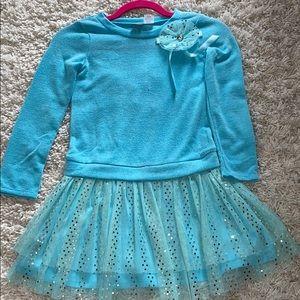 Blue long sleeve dress with tutu skirt